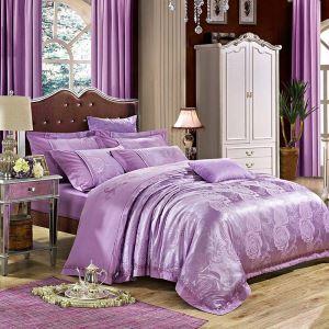 布団カバーセット 掛け布団カバー 敷き布団カバー まくらカバー ボックスシーツ 寝具カバー 紫色 北欧風 ジャカード 綿 4点セット