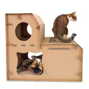 猫の家 段ボールハウス 猫ハウス 爪とぎ 猫の巣 2層 ストレス解消