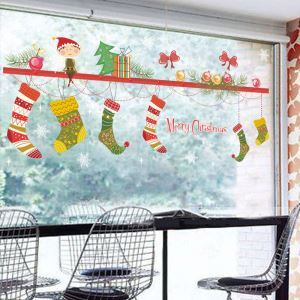 ウォールステッカー 転写式ステッカー PVCシール シート式 壁窓 剥がせる クリスマス柄 クリスマス靴下