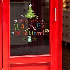 ウォールステッカー 転写式ステッカー PVCシール シート式 壁窓 剥がせる クリスマス柄 New Year