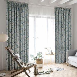 遮光カーテン オーダーカーテン 捺染 花柄 青色 綿麻 米式(1枚)