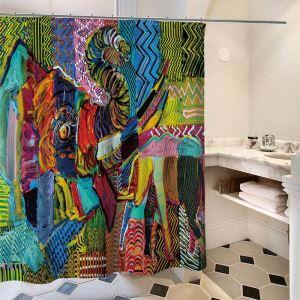 シャワーカーテン バスカーテン 防水防カビ プリント オシャレ 浴室用 リング付 油絵画象柄