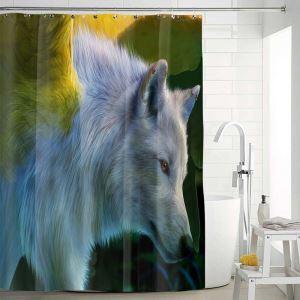 シャワーカーテン バスカーテン 防水防カビ プリント オシャレ 浴室用 リング付 オオカミ柄 3D立体
