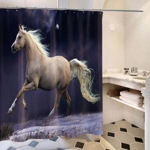 シャワーカーテン バスカーテン 防水防カビ プリント オシャレ 浴室用 リング付 馬柄 3D立体