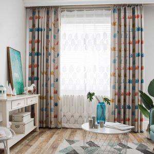 遮光カーテン オーダーカーテン 捺染 オオカリ柄 子供屋 寝室(1枚)