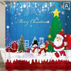 シャワーカーテン バスカーテン 防水防カビ プリント 浴室用 リング付 オシャレ クリスマス Christmas サンタクロース&雪だるま