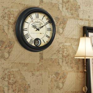 時計 壁掛け時計 静音時計 クロック 金属 北欧 レトロ インテリア 創意 wh010