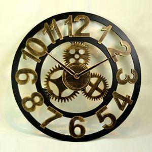 時計 壁掛け時計 静音時計 クロック 金属 北欧 歯車 工業風 レトロ インテリア ZT086