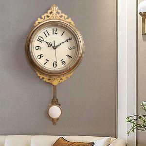 時計 壁掛け時計 静音時計 クロック 金属 振り子 北欧風 豪華 レトロ インテリア HSG8016B110-f