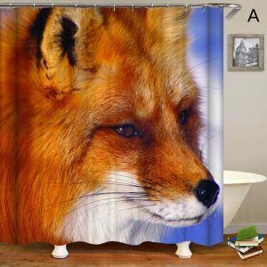 シャワーカーテン バスカーテン 防水防カビ プリント オシャレ 浴室用 リング付 動物柄 3D立体