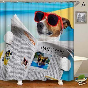 シャワーカーテン バスカーテン 防水防カビ プリント オシャレ 浴室用 リング付 犬柄 3D立体