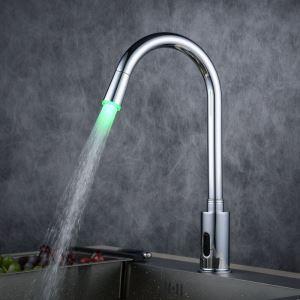 LEDセンサー水栓 自動水栓 バス水栓 台所蛇口 冷熱混合栓 DC6V