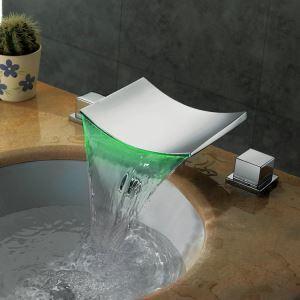 LED洗面蛇口 バス水栓 冷熱混合栓 水道蛇口 温度センサー付 2ハンドル 3色 クロム