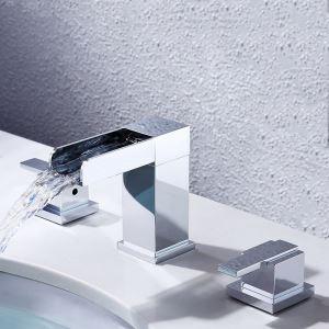 洗面水栓 バス蛇口 立水栓 冷熱混合栓 水道蛇口 クロム 置き型 3点