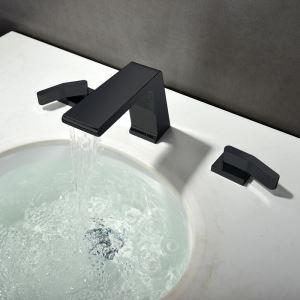 洗面水栓 バス蛇口 立水栓 冷熱混合栓 水道蛇口 黒色 3点 置き型