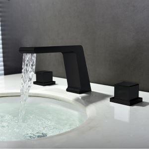 洗面水栓 バス蛇口 立水栓 冷熱混合栓 水道蛇口 黒色 置き型 3点