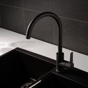 キッチン蛇口 台所蛇口 冷熱混合栓 シンク用水栓 水道蛇口 黒色