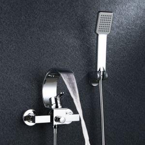 浴室シャワー水栓 バス蛇口 ハンドシャワー 混合水栓 蛇口付き 風呂用 クロム オシャレ