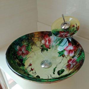 洗面ボウル&蛇口セット 手洗い鉢 洗面器 強化ガラス製 排水金具付 オシャレ 花柄 丸型