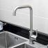 キッチン蛇口 台所蛇口 冷熱混合水栓 ステンレス製水栓 ヘアライン H375mm