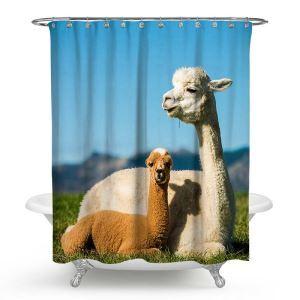 シャワーカーテン バスカーテン 防水防カビ プリント オシャレ 浴室用 リング付 アルパカ柄 3D立体