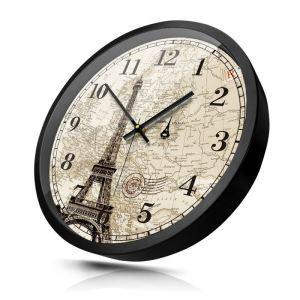 時計 壁掛け時計 静音時計 クロック 金属 北欧 レトロ エッフェル塔柄 インテリア 30cm HB0072