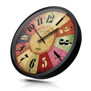 時計 壁掛け時計 静音時計 クロック 金属 北欧 レトロ アラビア数字 インテリア 30cm HB0072