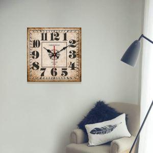 時計 壁掛け時計 静音時計 クロック 木質 北欧 レトロ 正方形 インテリア 35cm WG019