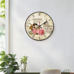 時計 壁掛け時計 静音時計 クロック 木質 北欧 田園風 円形 インテリア 30cm WG043