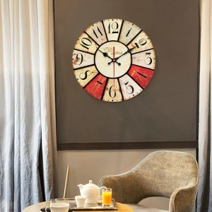 時計 壁掛け時計 静音時計 クロック 木質 北欧 田園風 円形 インテリア 30cm WG040