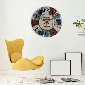 時計 壁掛け時計 静音時計 クロック 木質 北欧 田園風 円形 インテリア 30cm WG057