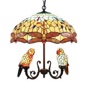 シャンデリア ステンドグラスランプ 照明器具 リビング 寝室 店舗 オウム型 5灯 LS18052