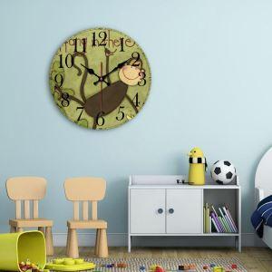 時計 壁掛け時計 静音時計 クロック 木質 現代風 シンプル 漫画動物 創意 インテリア 30cm WG058