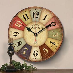 時計 壁掛け時計 静音時計 クロック 木質 北欧 田園風 インテリア 円形 30cm