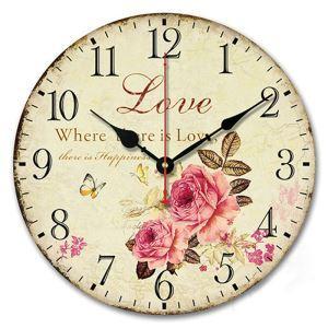 時計 壁掛け時計 静音時計 クロック 木質 薔薇 北欧 インテリア 円形 30cm