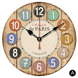 時計 壁掛け時計 静音時計 クロック 木質 カラフル 数字 北欧 田園風 インテリア 円形 30cm