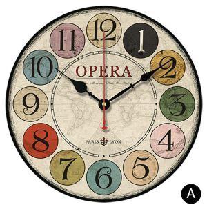 時計 壁掛け時計 静音時計 クロック 木質 カラフル 数字 北欧 田園風 インテリア 円形 35cm
