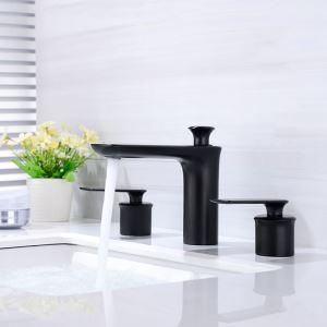 洗面蛇口 バス水栓 冷熱混合栓 手洗器蛇口 水道蛇口 2ハンドル 置き型 3点 黒色 HAY