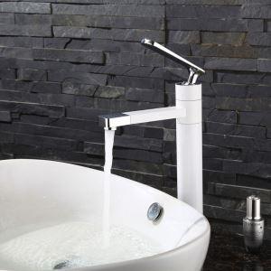 洗面蛇口 バス水栓 冷熱混合栓 水栓金具 水道蛇口 吐水口回転 白色/黒色 H30cm
