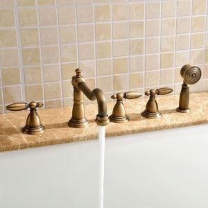浴槽水栓 バス蛇口 シャワー混合栓 浴室蛇口 ハンドシャワー付 水道蛇口 5点 ブラス色