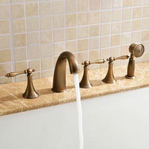 浴槽水栓 バス蛇口 シャワー混合栓 浴室水栓 ハンドシャワー付 水道蛇口 5点 ブラス色