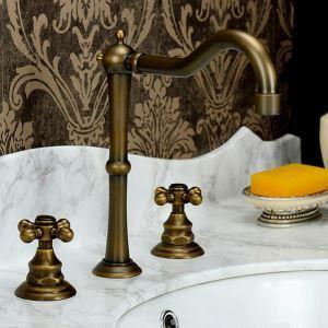 洗面水栓 バス水栓 浴室蛇口 冷熱混合栓 舵型ハンドル 2ハンドル 水道蛇口 3点 ブラス