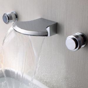 壁付蛇口 バス水栓 洗面蛇口 冷熱混合栓 浴槽水栓 水道蛇口 滝状吐水口 2ハンドル ORB
