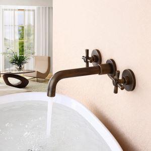 壁付水栓 洗面蛇口 バス水栓 水道蛇口 冷熱混合栓 2ハンドル ブラス色