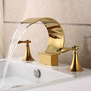 洗面蛇口 バス水栓 冷熱混合栓 浴槽蛇口 水道蛇口 2ハンドル C型 3点 4色