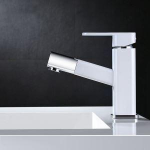 洗面蛇口 スプレー混合栓 洗髪用水栓 ホース引出式 水道蛇口 立水栓 H16cm