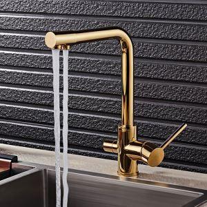 キッチン水栓 台所蛇口 冷熱混合栓 蛇口一体型浄水器 浄水・原水切替 水道蛇口 2ハンドル 金色