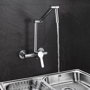 壁付水栓 キッチン蛇口 台所蛇口 冷熱混合栓 水道蛇口 ツーホール 折畳み クロム