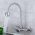 壁付水栓 キッチン蛇口 台所蛇口 冷熱混合栓 水道蛇口 整流&シャワー吐水式 ツーホール ヘアライン