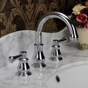 洗面蛇口 バス水栓 冷熱混合栓 手洗器蛇口 水栓金具 2ハンドル 置き型 3点 HAY